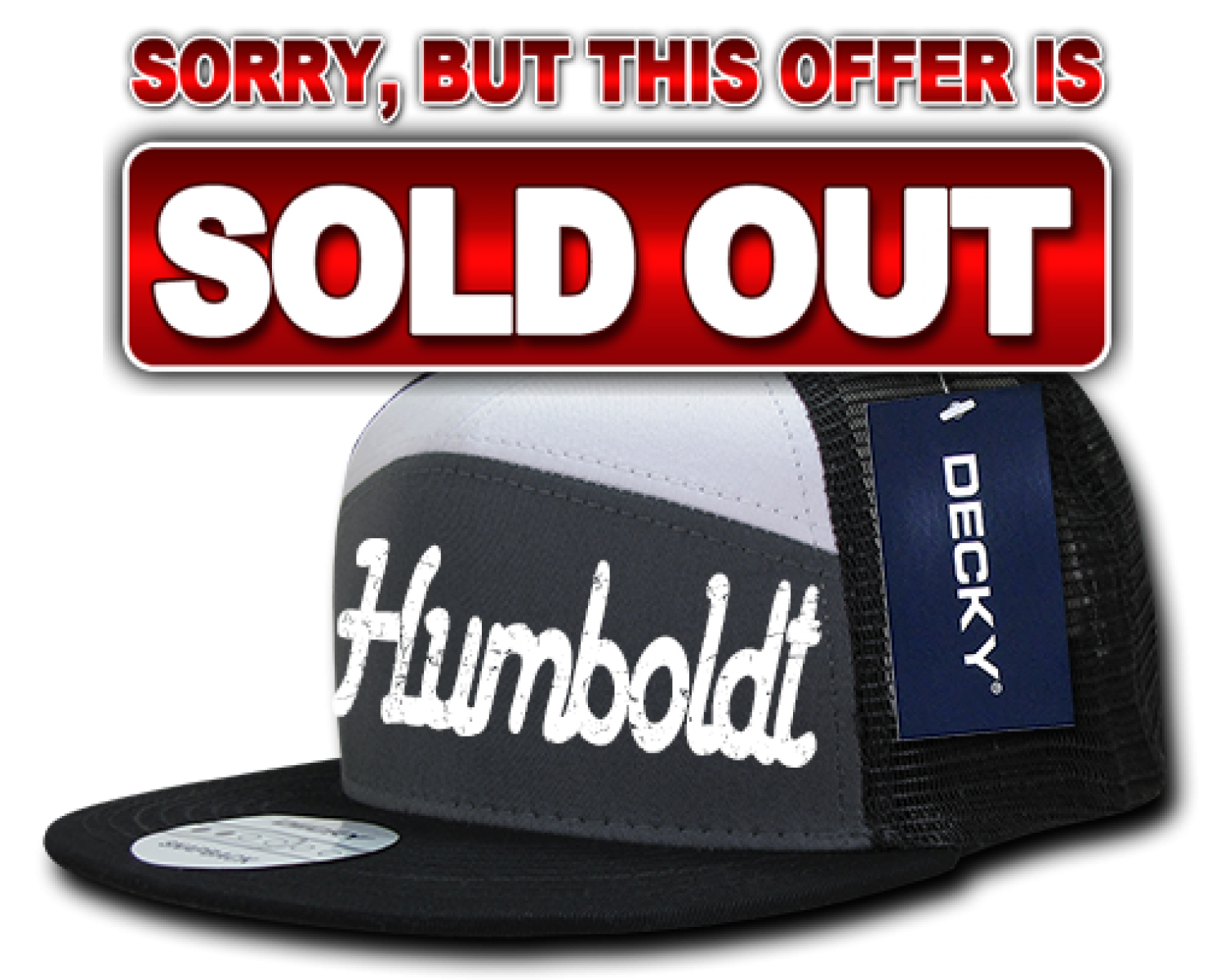 3D Puffy Text Humboldt Hat (Black/Gray/White)